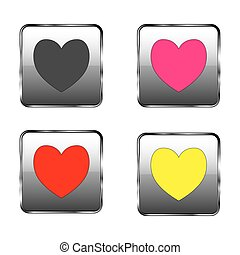 serce, guzik, -, dzień, valentine