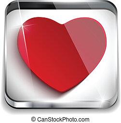 serce, guzik, valentine, zastosowanie, połyskujący, dzień