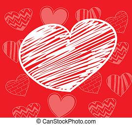 serce, hand-drawn, biały czerwony