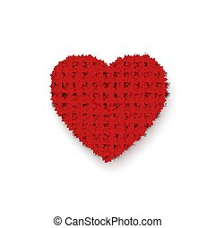 serce, heart., frame., barwny, list miłosny, odizolowany, ilustracja, romans, wektor, tło, biały, dzień, czerwony