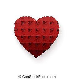 serce, heart., frame., barwny, list miłosny, odizolowany, ilustracja, romans, wektor, tło, biały, dzień