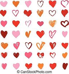 serce, ikony, komplet, list miłosny, ręka, ilustracje, pociągnięty, dzień