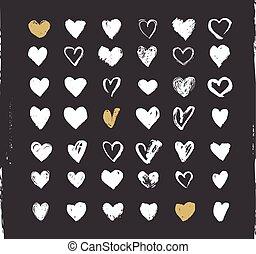 serce, ikony, komplet, list miłosny, ręka, ions, ilustracje, pociągnięty, dzień