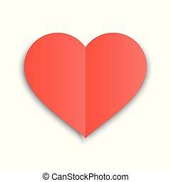 serce, illustration., kartka pocztowa, shadow., valentine, papier, zaginać, formułować, wektor, dzień, czerwony