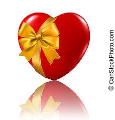 serce, illustration., ribbon., valentine`s, tło., wektor, wisząc, dzień, czerwony