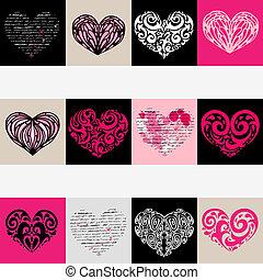 serce, ilustracja, set., love., wektor, tło.