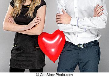 serce, im, balloon, para, między