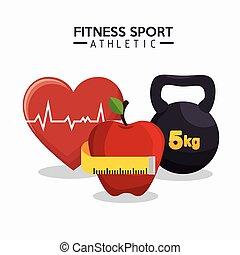 serce, jabłko, barbell, stosowność, atletyka, sport