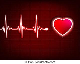 serce, kardiogram, eps, głęboki, to, 8, cień, red.