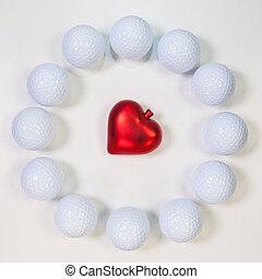 serce, koło, piłki, golf, czerwony