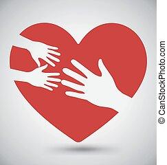 serce, koźlę, dorosły, czerwony, ręka