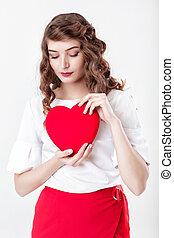serce, kobieta dzierżawa, czerwony