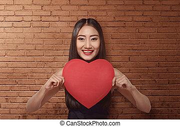 serce, kobieta dzierżawa, papier, asian, ładny