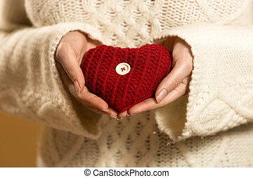 serce, kobieta, fotografia, closeup, dzierżawa wręcza