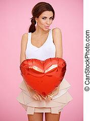 serce, kobieta, kuszący, czerwony