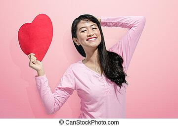 serce, kobieta, papier, asian, dzierżawa, uśmiechanie się, czerwony