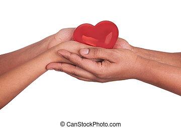 serce, kobieta, siła robocza, odizolowany, dzierżawa, afrykanin, biały czerwony, człowiek