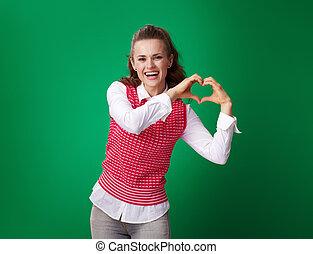 serce, kobieta, student, mający kształt, pokaz, zielone tło, siła robocza