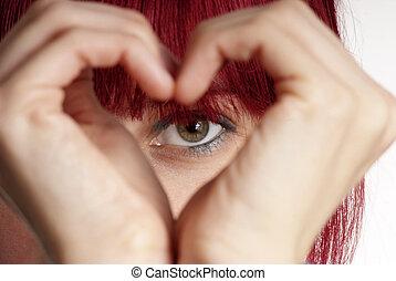 serce, kobieta, widać