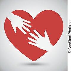 serce, kochanek, czerwony, ręka