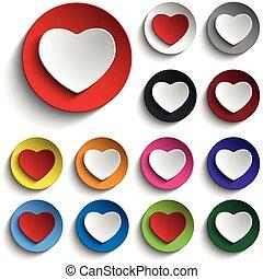 serce, komplet, barwny, guzik, valentine, dzień