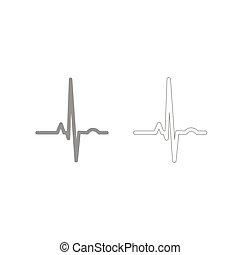 serce, komplet, ekg, szary, rytm, ikona