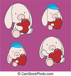 serce, komplet, królik, valentine