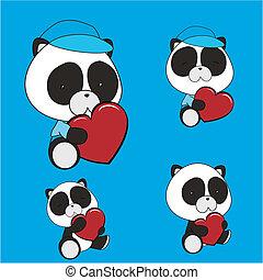 serce, komplet, miś pandy, valentine