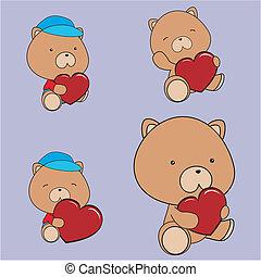 serce, komplet, miś, valentine
