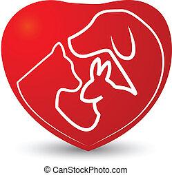 serce, kot, pies, królik, logo
