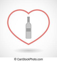 serce, kreska, ikona, butelka, wino