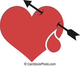 serce, krew, namiętność, strzała