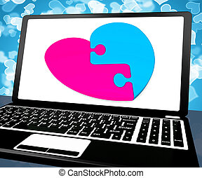 serce, laptop, zagadka, online datujący, pokaz