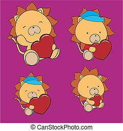 serce, lew, komplet, valentine