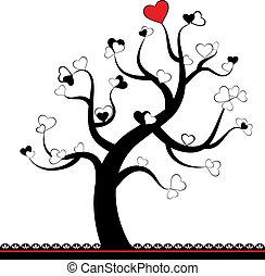 serce, liść, miłość, drzewo, valentine
