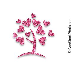 serce, liście, pojęcie, drzewo, shimmering