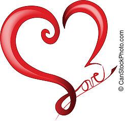 serce, list miłosny, błyszczący, dzień, logo