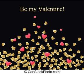 serce, list miłosny, miłość, złoty, złoty, zaproszenie, szablon, card., karta, tło., valentine., czerwony, szczęśliwy, you., tworzenie, text., ślub, czuć się, dzień, illustration., banner., powitanie, wektor, mój