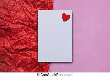 serce, listek, papier, opróżniać, tło, biały czerwony