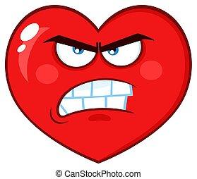 serce, litera, twarz, illustration-angry, zrzędny, wyrażenie, rysunek, czerwony, emoji
