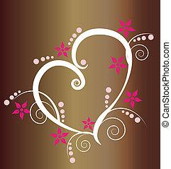 serce, logo, styl, tło, rocznik wina
