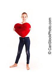serce, mały, sprytny, odizolowany, dzierżawa, dziewczyna, czerwony