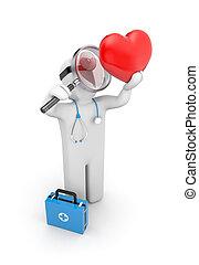 serce, medyczny, badanie, szkło powiększające