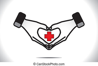 serce, medyczny, ochrona, plus, troska