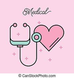 serce, medyczny, stetoskop, symbol, kardiologia