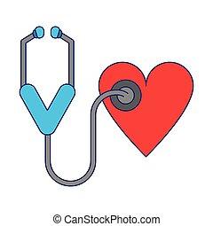 serce, medyczny, stetoskop, symbol
