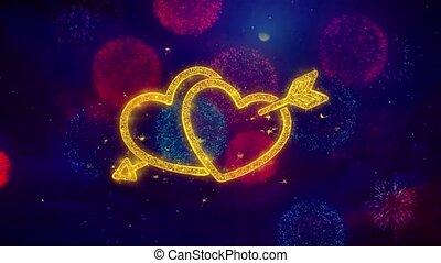 serce, miłość, barwny, valentine, fajerwerki, cząstki, iskierka, dzień