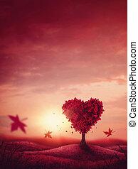 serce, miłość, drzewo