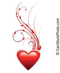 serce, miłość, dzień, tło, valentine