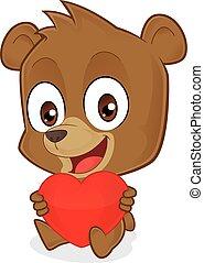 serce, miłość, dzierżawa, niedźwiedź, czerwony